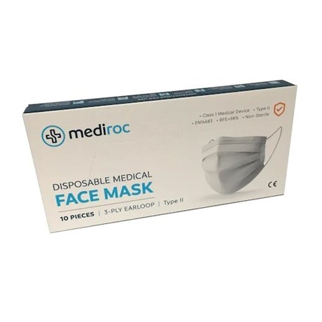 Medical mask Class 1 Type II EN14683 BFE> 98% Non sterile Box of 10