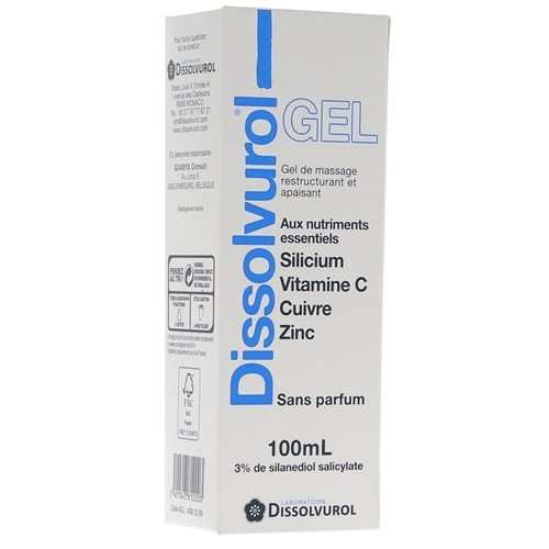 DISSOLVUROL GEL, Gel de massage à 3 % de silicium et nutriments essentiels. - tube 100 ml