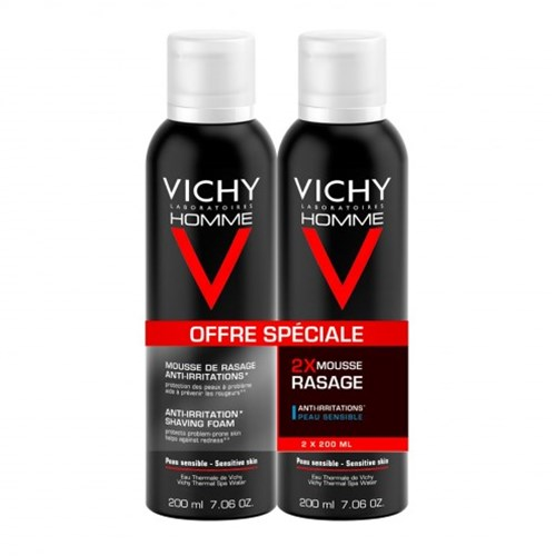 VITAMIN C ANTI-IRRITATION SHAVING FOAM SENSITIVE SKIN 2X200ML VICHY MEN