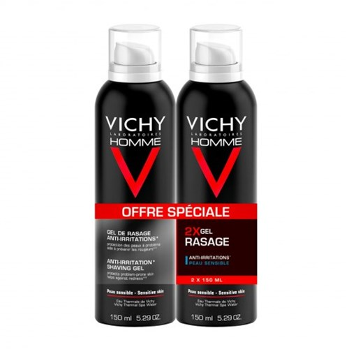 VITAMIN C ANTI-IRRITATION SHAVING GEL SENSITIVE SKIN 2X150ML VICHY MEN