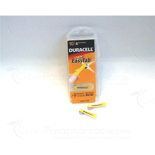 DURACELL BATTERY HEARING EASYTAB, zinc air battery 10 HPX, hearing aid. - Bt 6
