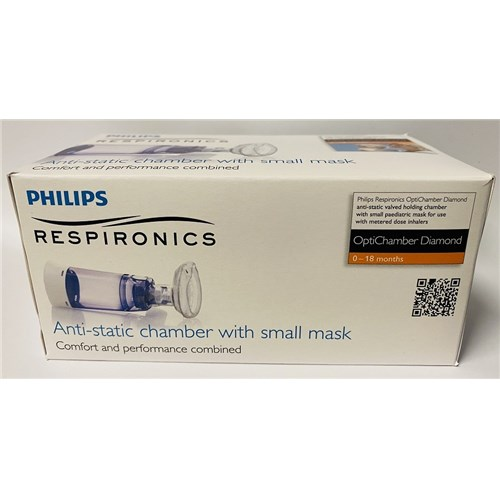 PHILIPS RESPIRONICS OptiChamber Diamond Antistatic Valve Inhalation Chamber with Small Mask for Child