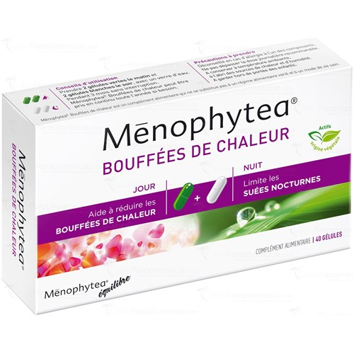 Ménophytea HOT FLASHES, Day + Night Capsules, dietary supplement for hormonal balance. - Bt 40 (20 + 20)