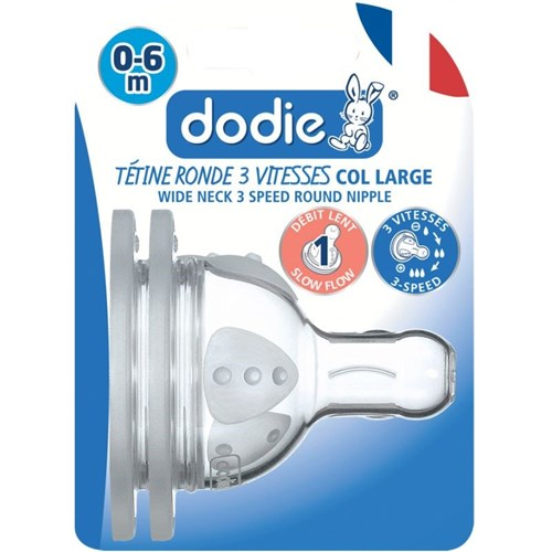 DODIE Tétine Initiation+ ronde 3 vitesses col large 0-6 mois silicone débit 1 - lot de 2