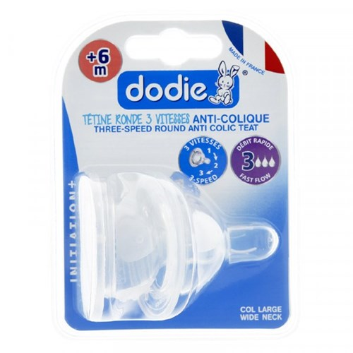 DODIE Tétine Initiation+ ronde 3 vitesses col large 0-6 mois silicone débit 3 - lot de 2
